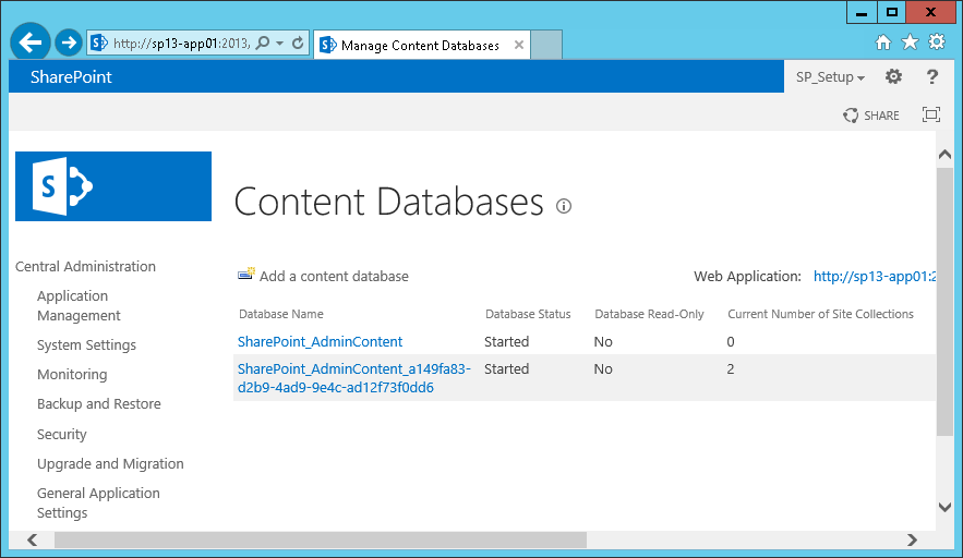 sharepoint admin content database guid