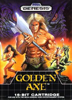 Cubierta del cartucho original de Golden Axe para Sega Megadrive/Genesis de 1989