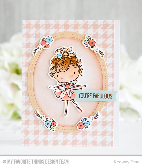 Handmade card from Keeway Tsao featuring Beautiful Girl stamp set and Die-namics, Single Stitch Line Oval Frames Die-namics #mftstamps