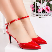 Pantofi dama cu toc rosii Namilia