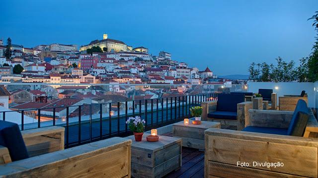 Hospedagem em Coimbra - Terraço do Hotel Oslo, com vista para o Centro Histórico