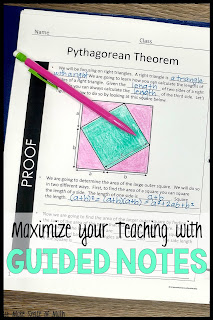 Great post on the benefits of using guided notes in your middle school math classroom.  Great for any 7th grade or 8th grade teacher who is looking for teaching ideas for math. #makesenseofmath