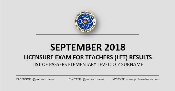 Q-Z Alphabetical Passers List: September 2018 LET Result Elementary