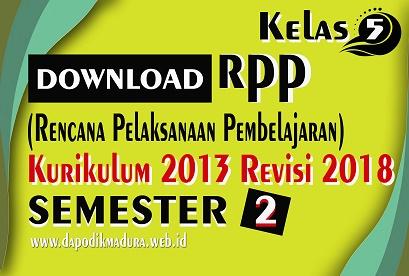 Download RPP Kelas 5 Semester 2 K13 Revisi 2018