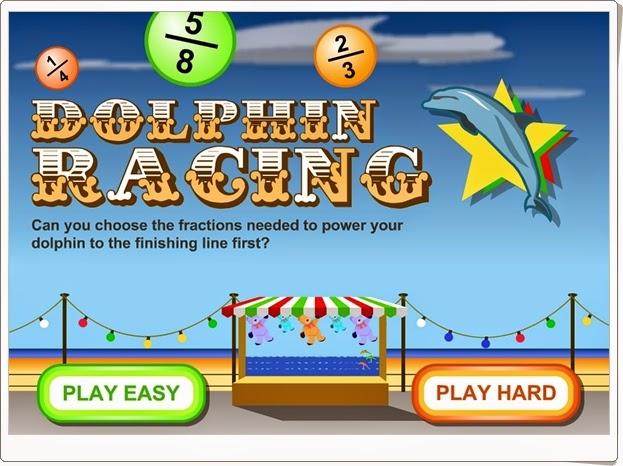 """""""Dolphin Racing"""" (Juego de ordenación de fracciones)"""
