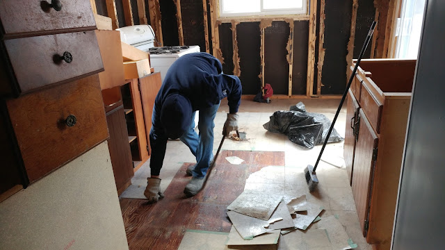 Kitchen Flooring being removed