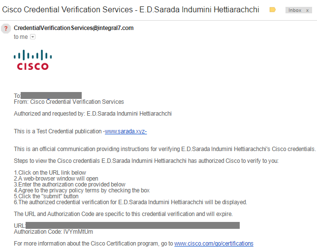 How to verify your Cisco Certification and Publish Credentials to an