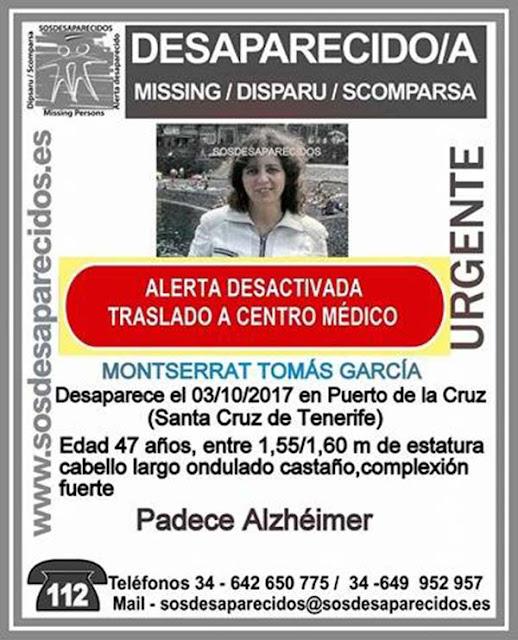 Encuentran mujer con alzheimer desaparecida en Puerto de La  Cruz Montserrat Tomás García