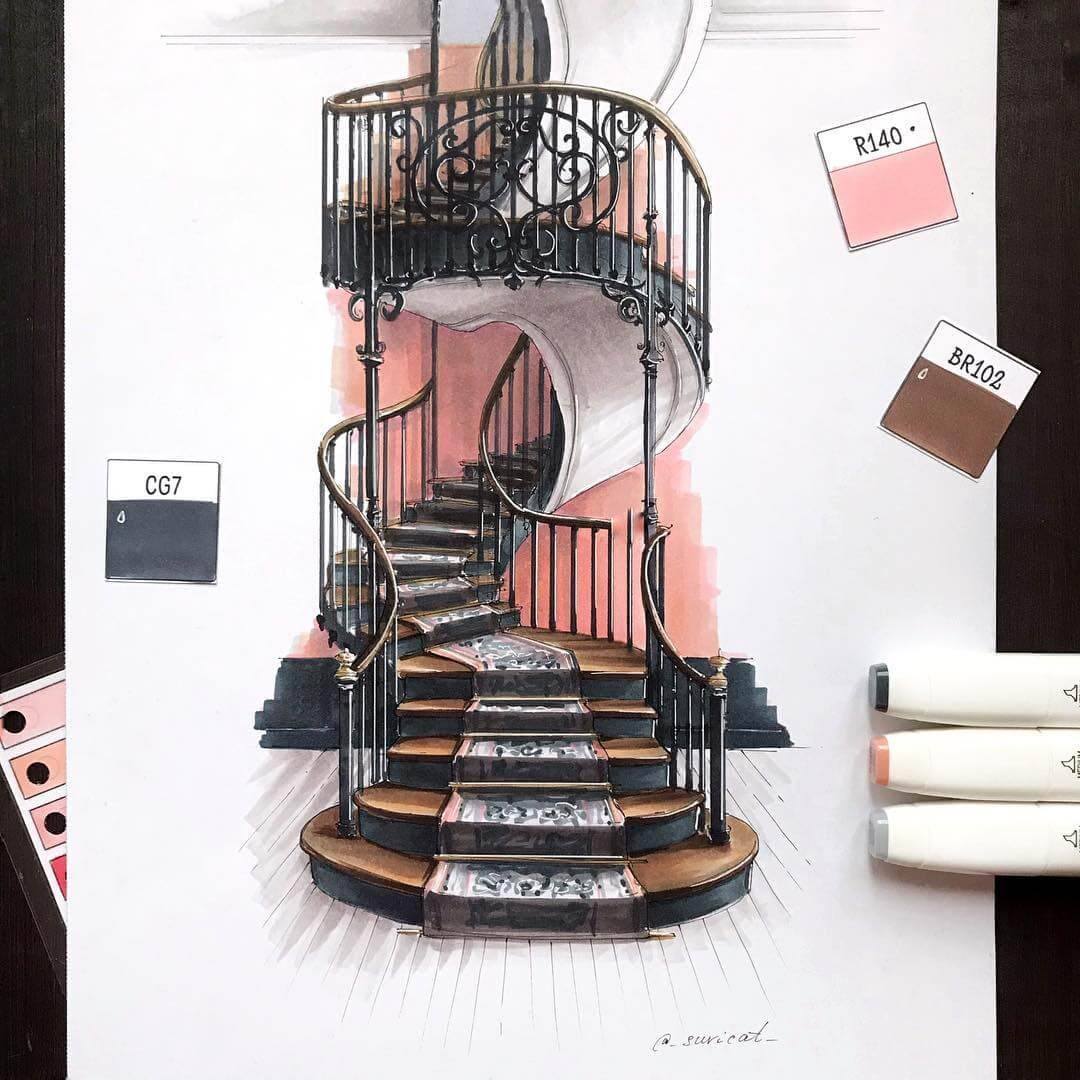 04-Spiral-Staircase-Ekaterina-Suricat-Interior-Design-Colored-Sketches-www-designstack-co