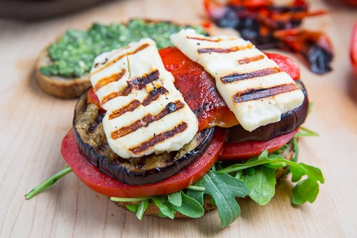 Grilled Eggplant and Red Pepper Sandwich with Halloumi