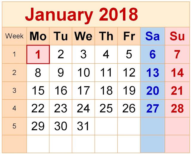 January 2018 Hindu Calendar - जनवरी २०१८ हिन्दू कैलेंडर - Nakshatra, Tithi, Karana, Yoga, Kala