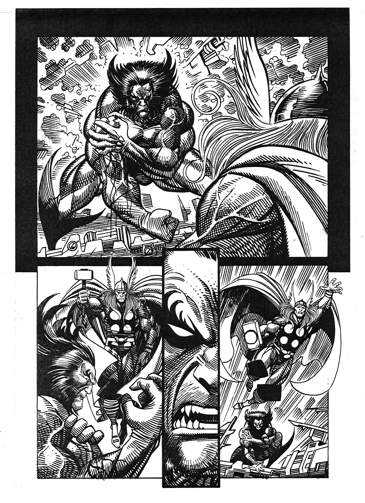 THOR AND WOLVERINE PENCIL AND INK MERIGGI