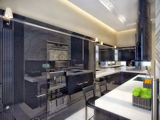 Narrow black kitchen