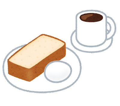 カフェのモーニングセットのイラスト