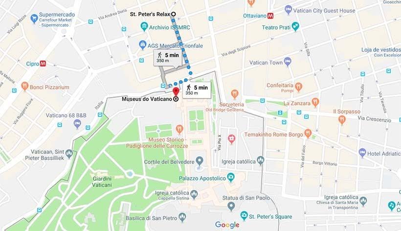 Mapa com distância entre o Vaticano e o hotel St. Peter - Diário de Bordo: 3 dias em Roma