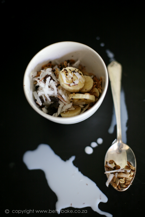 muesli, coconut, recipe, betty bake, blog, food, breakfast, easy to make, on a black background