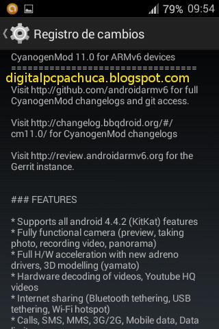 Registro de cambios de Cyanogenmod 11 para lg p500 optimus one