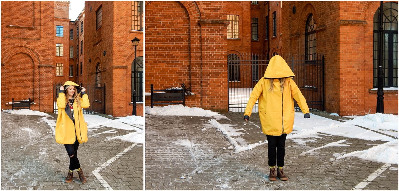 5 agagu żółta szeroka kurtka płaszcz z kapturem polskie marki czapka miłość pan tu nie stał łódź moda blogerka keds kolorowe skarpetki