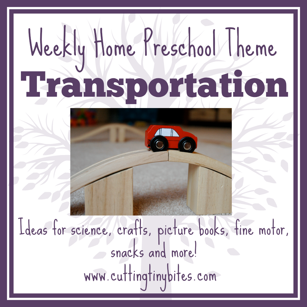 Transportation Theme- Weekly Home Preschool. Science, math, crafts, picture books, gross motor activities, snack, and more! Perfect amount of activities for one week of EASY home preschool.