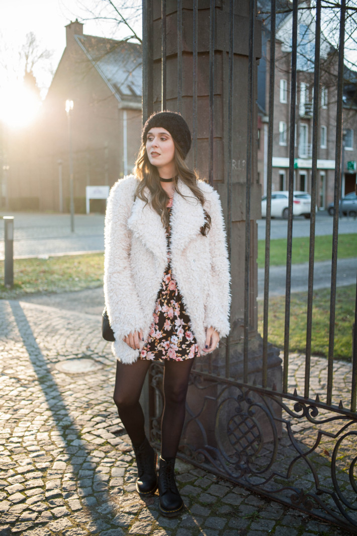 Outfit Fluffy Coat Floral Dress And Dr Martens The