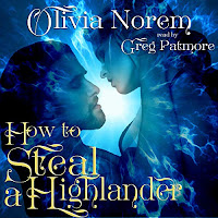 How to Steal a Highlander audiobook cover. A dark haired man embraces a brunette woman. The background is a mystical, electric blue light.