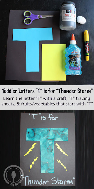 Letter T Craft - Toddler/Preshooler letter of the week craft T is for Thunder Storm with related craft, tracing sheets and fruits/vegetables.