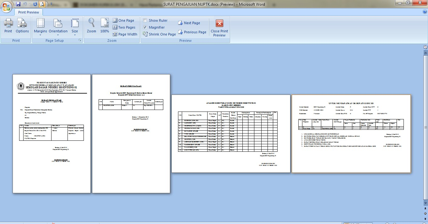 Contoh Berkas Berkas Dan Surat Untuk Pengajuan Nuptk 2017 Contoh Berkas Guru