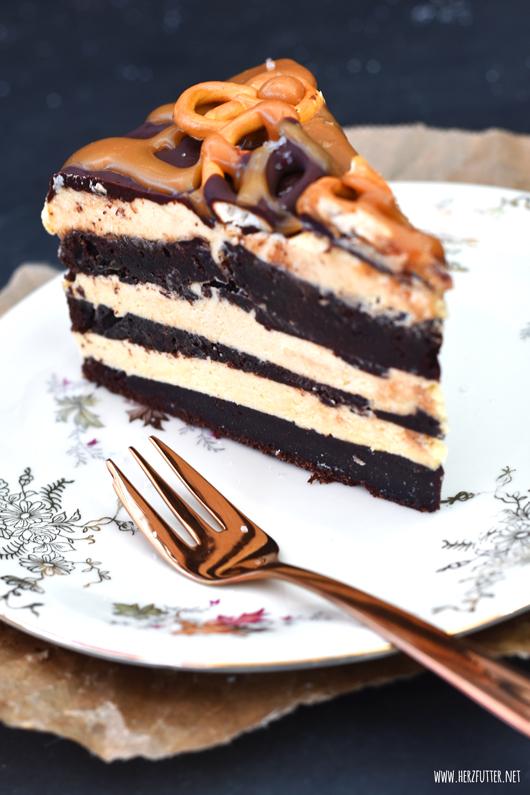 Zuckersüßer Salted Caramel Cake mit saftigem Guinnesskuchen