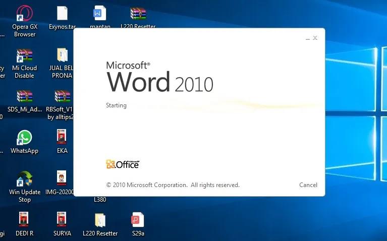 Membuka Lembar Kerja Microsoft Word