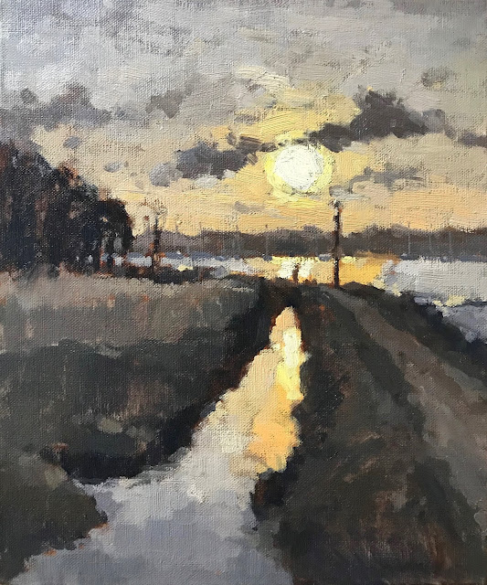 #431 'Low Winter Sun over The River Hamble' 10×12″