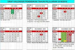 Kalender Pendidikan Tahun Pelajaran 2018/2019 TK/PAUD, SD/MI, SMP/MTs, SMA/MA, SMK Seluruh Indonesia