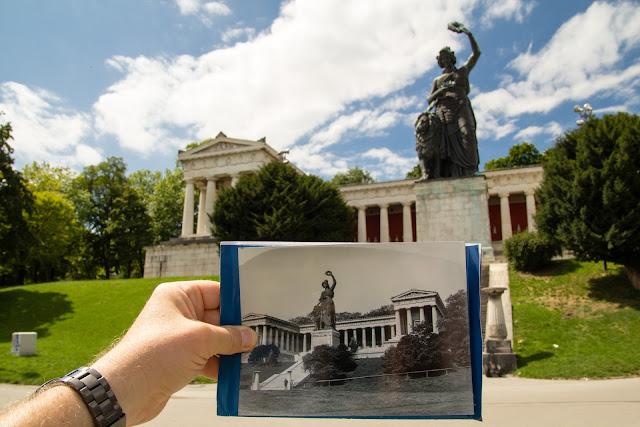 Bavaria mit Ruhmeshalle - um 1920/1930 und 2017 - Bild in Bild