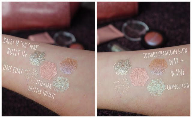 swatches of a gold and silver glitter, rose gold cream, and multicoloured glitters on a white arm