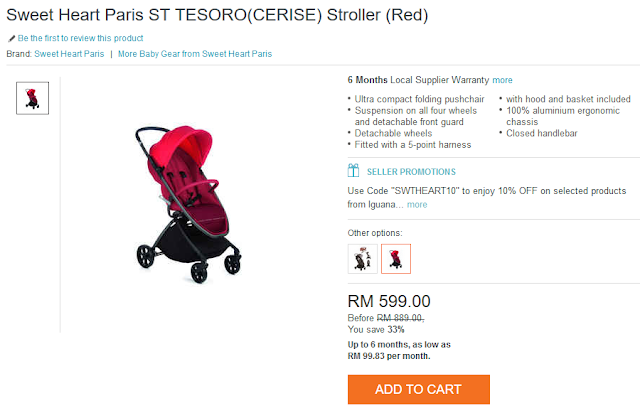 Sweet Heart Paris ST TESORO(CERISE) Stroller (Red)