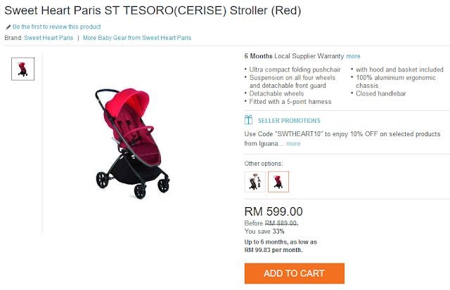 Sweet Heart Paris ST TESORO(CERISE) Stroller (Red)