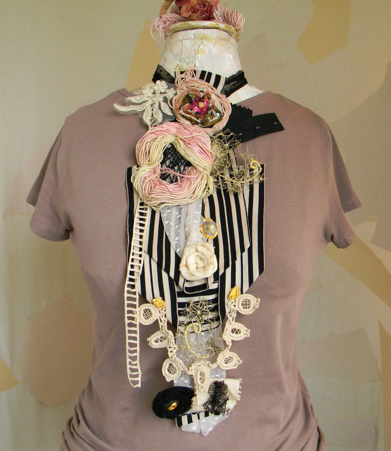 Handmade Steampunk Collage Jabot Neck Piece Bib Upcycled Fashion Jewelry