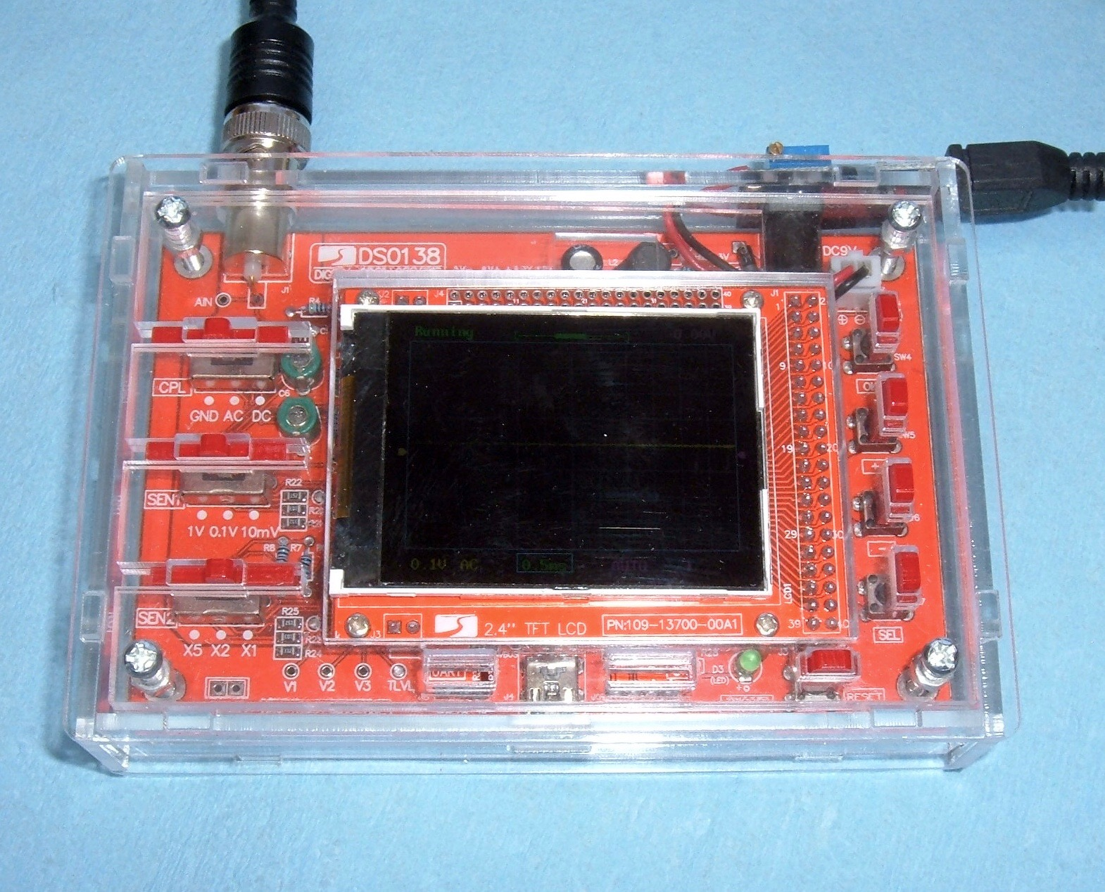 Syonyks project blog dso138 scope acrylic housing assembly and this is a 200khz sample rate oscilloscope that is normally sold as a solder it yourself kit for students and hobbyists to assemble solutioingenieria Image collections