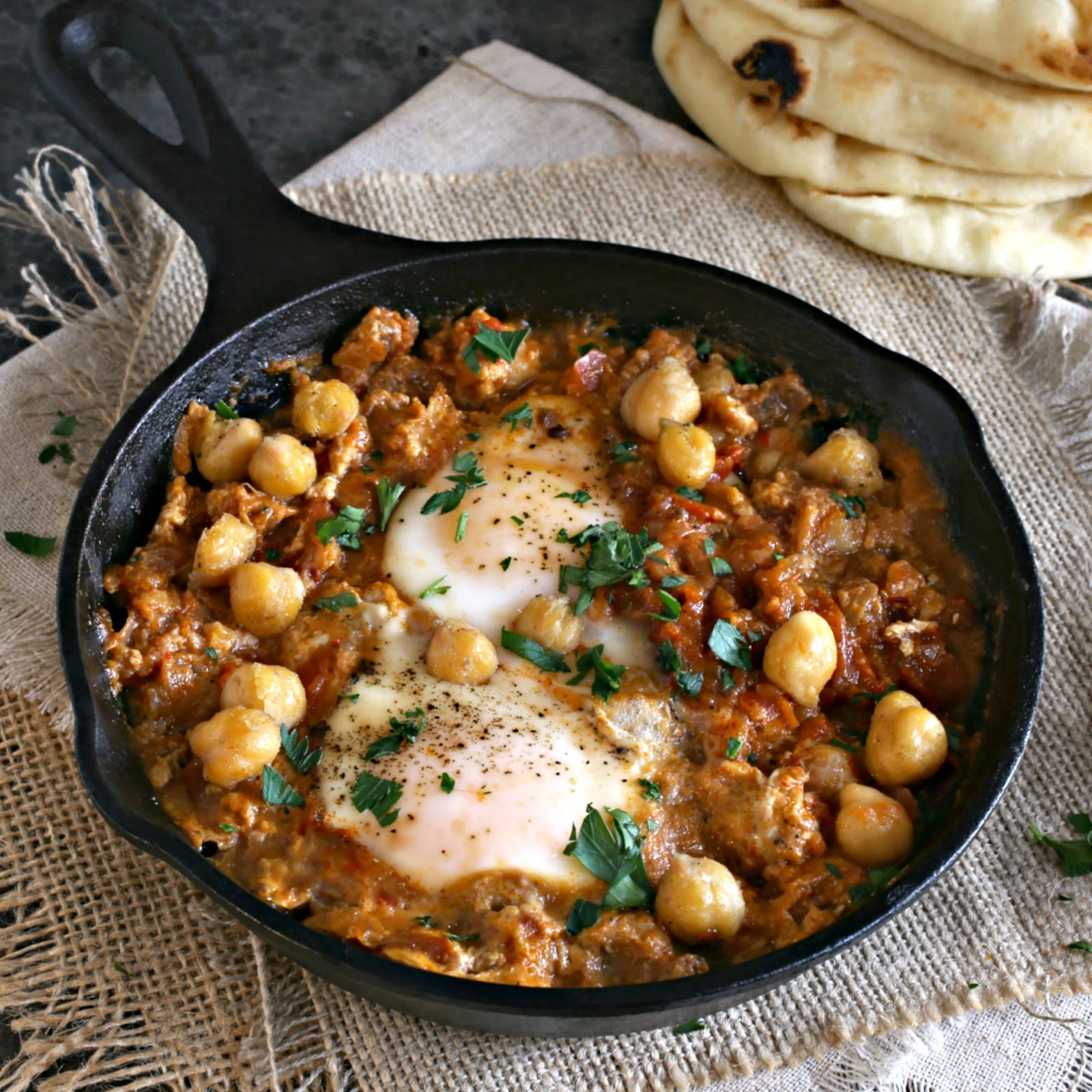Crispy chickpeas and eggs poached in a shakshuka simmer sauce.