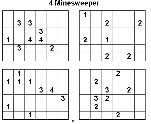 4 Minesweepers Logical Puzzles