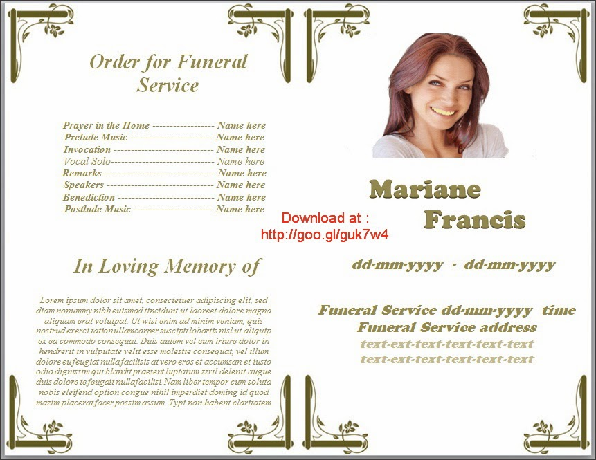 Funeral Printing Templates: Use A Funeral Program To Honor The