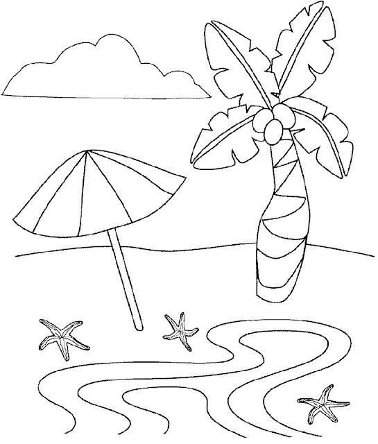 Gambar Mewarnai Pemandangan Pantai - 4