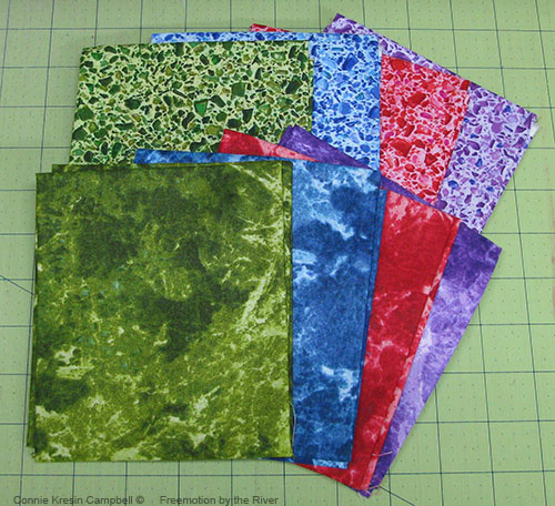 6 different fat quarters