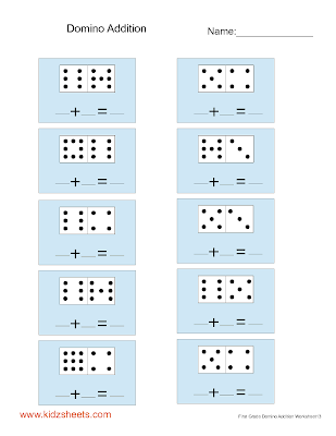 Kidz Worksheets: First Grade Domino Addition Worksheet13