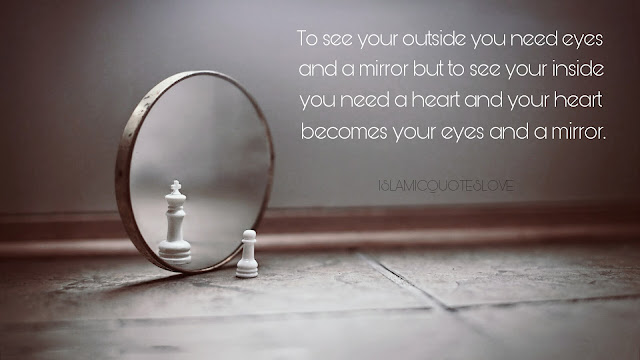 To see your outside you need eyes and a mirror but to see your inside you need a heart and your heart becomes your eyes and a mirror.