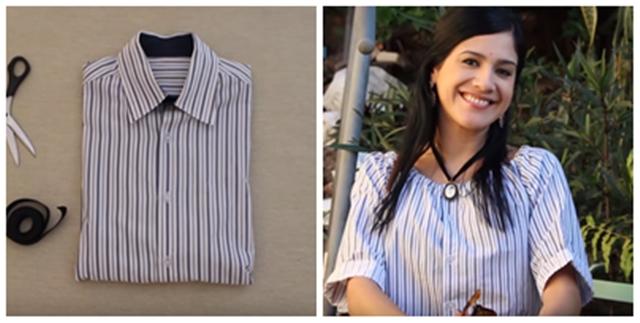 DIY Baju Kemeja Lama Jadi Blouse Yang Comel