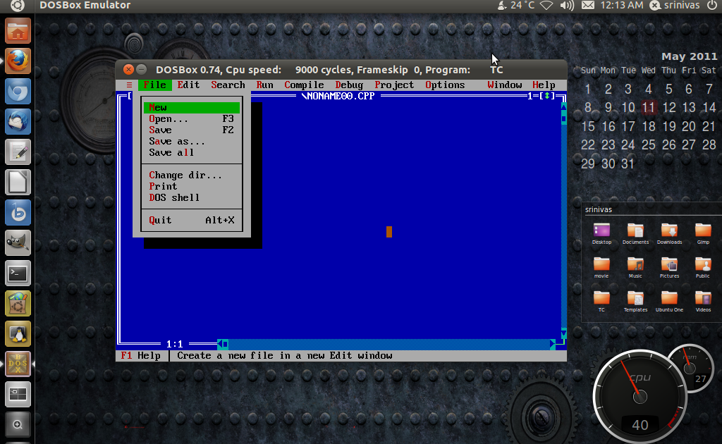 Turbo c++ on ubuntu using Dosbox | Solancer