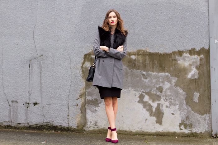 Vancouver fashion blogger, Alison Hutchinson, in a faux fur collar from Dynamite