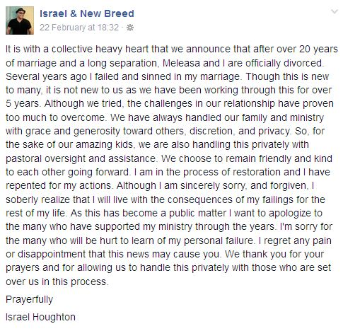 israel houghton divorced wife
