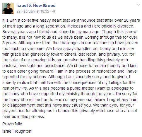 israel houghton divorced wife