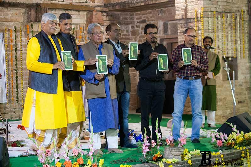 Book release L-R Umakant Gundecha, Ramakant Gundecha, Ashok Vajpeyi, Deo Prakash Choudhary, Manish Pushlake,Shivkesh Mishra andChandra Prakash Tiwari— Photo © Bharat Tiwari